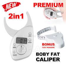 Digital Body Fat Caliper Electronic Tape Measure Pack Skin Muscle Tester Fitness