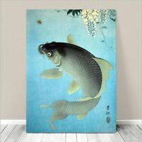 "Beautiful Japanese Nature Art ~ CANVAS PRINT 36x24"" ~ Carp Fish Jumping Koson"
