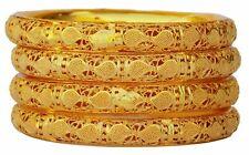 Indian Ethnic Bollywood Gold Plated Fashion Jewelry Pola Bangles Bracelet Set 4p