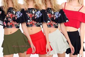 Womens Frill Detail Skort Ruffled High Waisted Ladies Party Mini Skirt Short