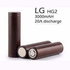 2 x LG HG2 IMR 18650 3.7V Battery 3000mAh Rechargeable 20A High Drain Flat Top