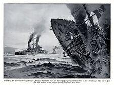 1915 Versenkung der GIUSEPPE GARIBALDI durch  k.u.k. U-Boot * antique print
