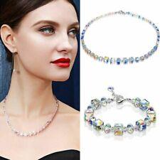 Aurora Borealis Women Crystal Bracelet Necklace Clavicle Wedding Jewelry Set