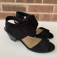 Nurture Braeton black suede chunky heel sandals Women's Size US 6.5 M Nearly New