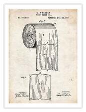 """TOILET PAPER ROLL INVENTION POSTER 1891 PATENT PRINT 18X24"""" INVENTOR WHEELER ART"""