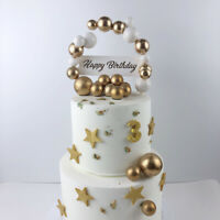 Gold Foam Balls Cake Topper Birthday Wedding Party Cupcake Dessert Cards Decor