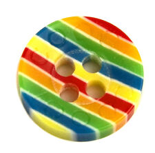 Coogi Multi-Color Striped Plastic Main Button or Sleeve Replacement Button .45""
