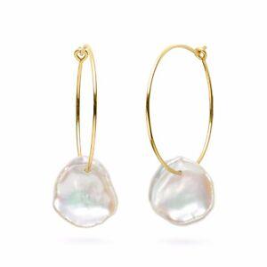 Handmade!12.5-13MM White Baroque Keshi Pearl Earrings 14K Yellow Gold Filled