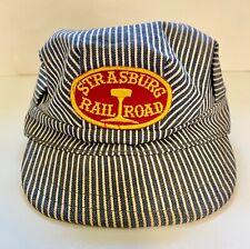 Vintage Pinstripe Strasburg Railroad Train Conductors Fitted Hat Cap
