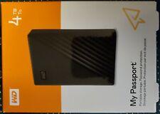 New! WD My Passport 4TB Black Portable Hard Drive WDBPKJ0040BBK-WESN