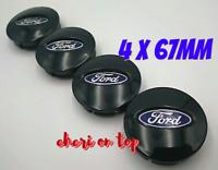Ford 4 x 67mm Schwarz Black Allufelge Nabenkappen Nabedeckel Satz Wheel Cap