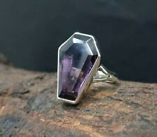 Amethyst Ring Coffin Ring Solid 925 Sterling Silver Band Ring Handmade Ring ++85