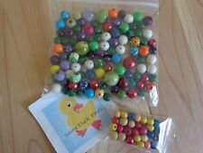 Assorted BEADS 5 Ounces Medium and Small Sizes Many Colors Wood Plastic