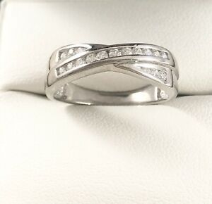 9ct White Gold Cubic Zirconia Crossover Eternity Band Ring Size N