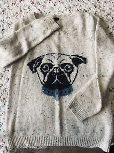 Florence & Fred pug Jumper In Speckled Oatmeal / Beige Size 14