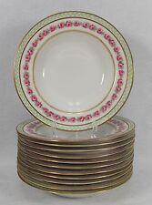 """BERNARDAUD Limoges china BER274 Pink Rose Green Laurel Set of 12 Soup Bowls @ 8"""""""