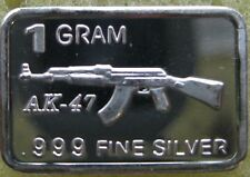 "1 Gram .999 Solid Silver Bullion, Art-Bar: "" AK-47 """