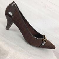 Anne Klein Brown Gold-Tone Embellished Pointed Toe Kitten Heels Women's 8.5 M
