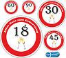 Geburtstags Aufkleber Verkehrsschild verschiedene Größen und Alter zur Auswahl