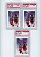(3) Card Lot 1991 Upper Deck Basketball Michael Jordan #75 PSA 8 MINT Graded