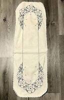 """Vintage Embroidered Stitched Table Runner Linen Floral Hand Made 36"""""""