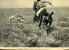 Wolf campaign with Greyhounds in Russia-Horse and Rider-Wood Engraving -- from 1898