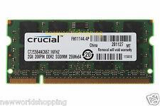 Crucial 2GB PC2-5300 DDR2-667 667Mhz 2RX8 200pin Laptop SODIMM Memory RAM 1.8v