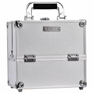 Frenessa Professional Makeup Train Case Aluminum Makeup Box 4-Tier Trays Craf...