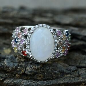 Natural Moonstone Ring Solid 925 Silver  Anniversary Ring Womens Day Gift Forher