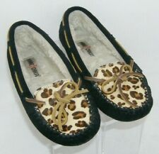 Minnetonka Cally leopard print suede bow slip on plush pile penny loafer flats 6