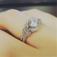 Elegant 925 Silver Round Cut White Sapphire Ring Fashion Wedding Rings Size 6-10