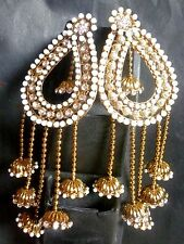 Antique Gold Plated Pearl Step Chain 10cm Long Wedding Indian Party Earrings