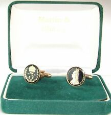 1887 Jubilee Head Victorian Threepence Cufflinks in Black & Gold