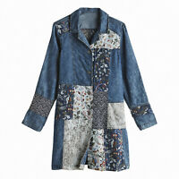 LA Blend Womens Denim Jacket - Long Floral Collage Patchwork Coat, Button Front