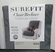 SUREFIT Chair/Recliner Furniture Cover *MICRO MINK* Dark Grey NEW
