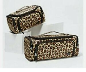 NWT LUG Trolley + Mini Duo Cosmetic Bag Leopard Organizer Makeup Travel New