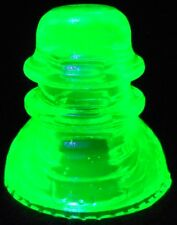 "Green Vaseline glass Hemingray USA insulator uranium Canary yellow mini 1"" mint"