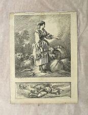 Eau-forte, Bergère et Ange, XVIIIème, Jean-Baptiste Huet