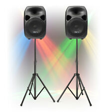 Fully Powered PA Speaker System with Stands TRULY PORTABLE Mobile Dj Disco Set