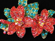 GREEN RED AB RHINESTONE CHRISTMAS DOUBLE 2 POINSETTIA FLOWER PIN BROOCH JEWELRY
