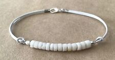 Cord, Silver Plated, Friendship Bracelet White Mother of Pearl, White Leather