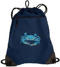BLUE CRAB Drawstring Bag Backpack MESH & MICROFIBER Draw String BAGS Backpack