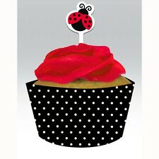 """""""LADYBUGS""""   Pack of 12 - Ladybug Fancy Cupcake Wraps with Toppers!"""