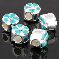 5Pcs Silver Charm Green Flower Big Hole European Spacer Beads Fit Bracelet