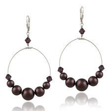 925 Silver Burgundy Swarovski Elements Dangle Wire Earrings