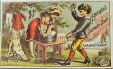 1870's-80's Buchan's Carbolic Laundry Soap, Kids Washing Clothes Trade Card P65