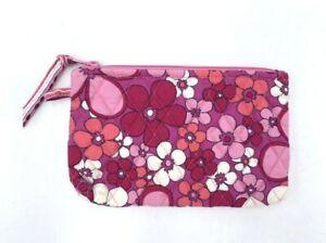 Vera Bradley Pink Petal Power Floral Zip Pouch Clutch Makeup Cosmetic Unlined