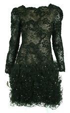 OSCAR DE LA RENTA Vintage Black Lace & Tulle Ruffle Cocktail Dress 6