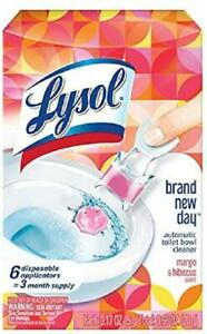 Lysol Automatic Toilet Bowl Cleaner, Click Gel, Mango & Hibiscus, 6 Count
