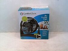 "Comfort Zone CZHV8T - 8"" High Velocity Turbo Fan, Black---NEW---3 Speed"
